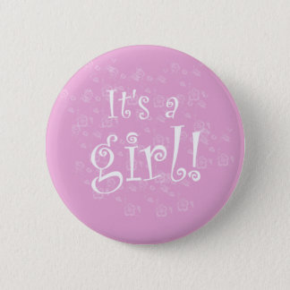 Pink and White It's a Girl Pinback Button