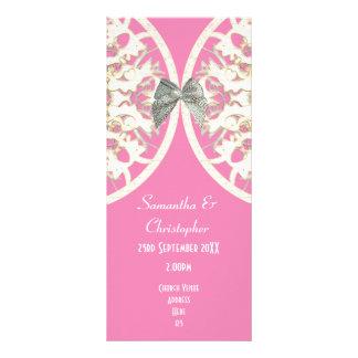 Pink and white lace damask church wedding program rack card design