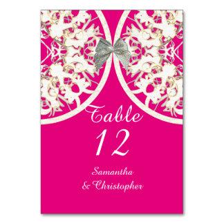Pink and white lace filigree damask wedding card
