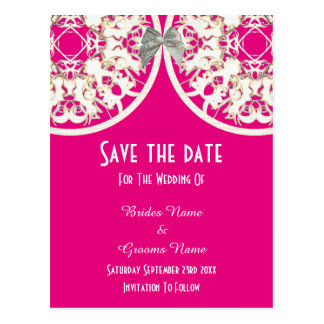 Pink and white lace filigree  save the date postcard