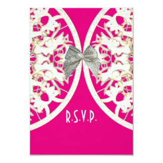 Pink and white lace filigree wedding R.S.V.P Card