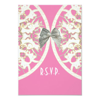 Pink and white lace filigree wedding R.S.V.P 3.5x5 Paper Invitation Card