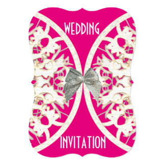 Pink and white lace paper cut damask wedding card