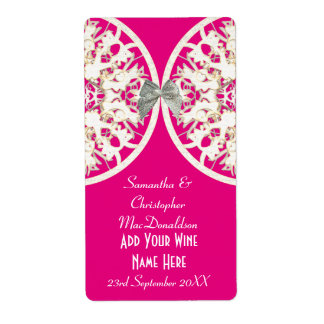 Pink and white lace paper cut wedding wine bottle label