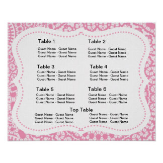Pink and White Lacy Damask Seating Plan Chart