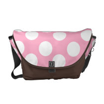 Pink and White Large Polka Dot Messenger Bag
