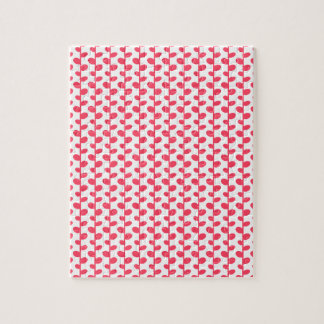 Pink and White Leaf Pattern Jigsaw Puzzles
