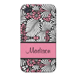 Pink and White Leafy Retro Style iPhone 4 Cases