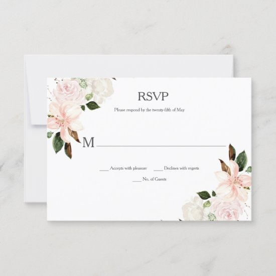 Pink and White Lilies, Magnolias, Peonies RSVP Card
