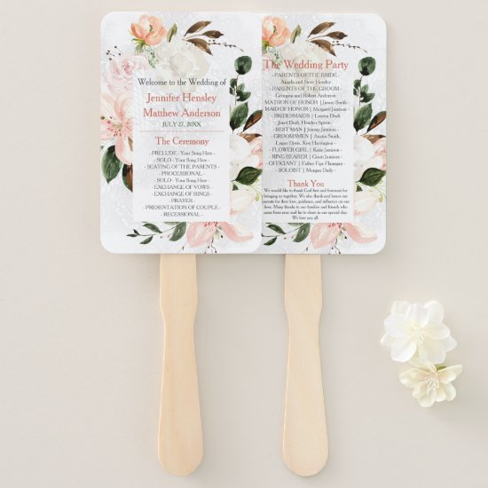 Pink and White Lilies, Roses, Peonies Wedding Hand Fan