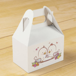 Pink And White Lovebirds Wedding Favor Favor Box