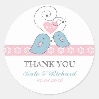 Pink and White Lovebirds Wedding Favor Sticker