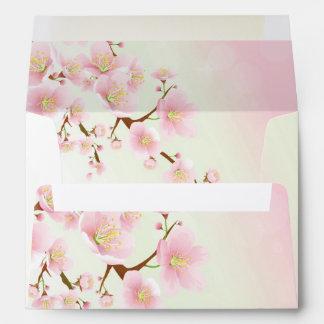 Pink And White Magnolia Floral Design Monogram Envelopes