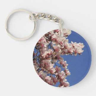 Pink and White Magnolia Double-Sided Round Acrylic Keychain