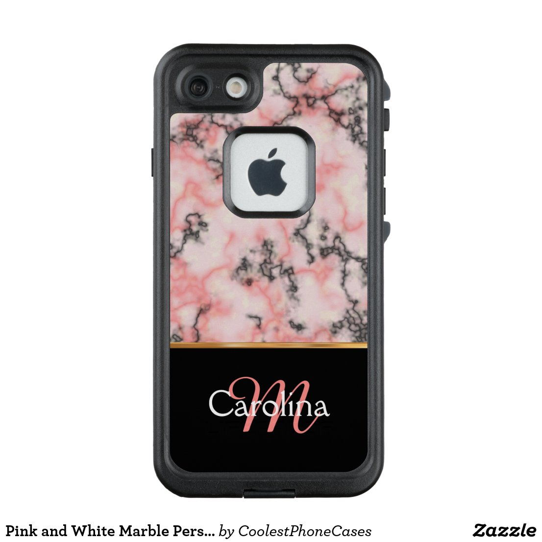 Pink and White Marble Personalized LifeProof FRĒ iPhone 7 Case