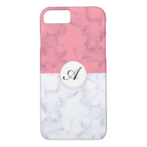 Pink And White Marble With Custom Initial Letter A iPhone 8/7 Case