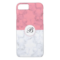 Pink And White Marble With Custom Initial Letter B iPhone 8/7 Case