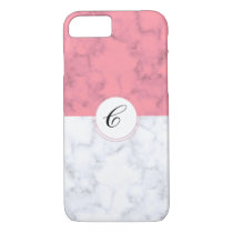 Pink And White Marble With Custom Initial Letter C iPhone 8/7 Case