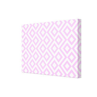 Pink and White Meander Stretched Canvas Print