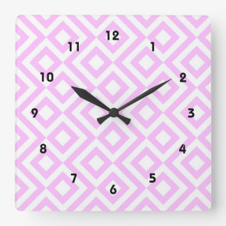 Pink and White Meander Square Wall Clocks