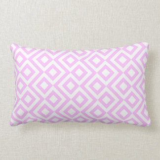 Pink and White Meander Lumbar Pillow