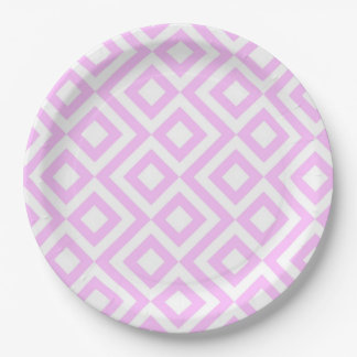 Pink and White Meander Paper Plate