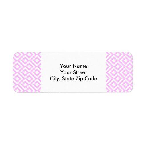 Pink and White Meander return address label