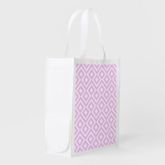 Pink and White Meander Reusable Grocery Bag
