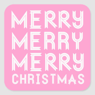 Pink and White Merry Christmas Stickers