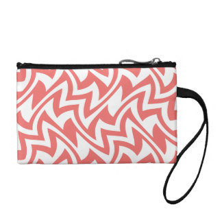 Pink and White Modern Abstract Geometric Patterns Change Purse