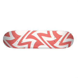 Pink and White Modern Abstract Geometric Patterns Skateboard Deck