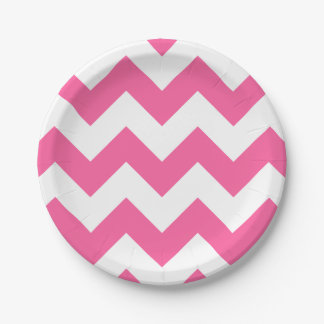 Pink and White Modern Chevron Paper Plate