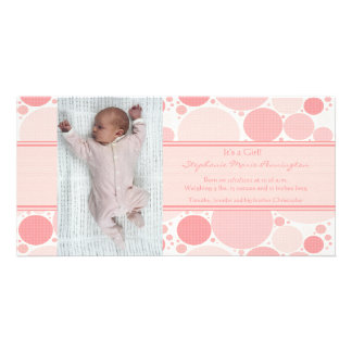 Pink and white modern dots girls baby announcement