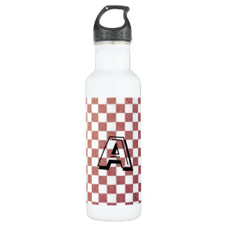 Pink and White Modern Gingham Check Water Bottle
