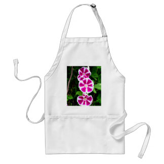 Pink and White Morning Glory Flowers Adult Apron