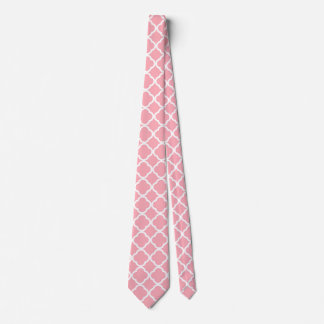 Pink and white Moroccan pattern Neck Tie
