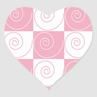 Pink and White Mouse Tails Heart Sticker