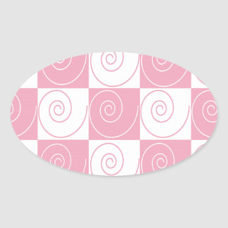 Pink and White Mouse Tails Oval Sticker