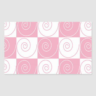 Pink and White Mouse Tails Rectangular Sticker