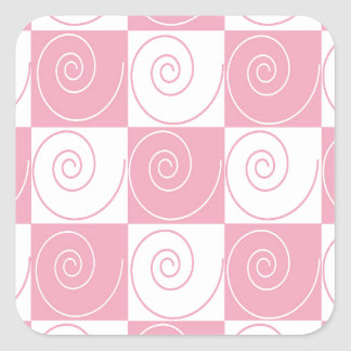 Pink and White Mouse Tails Square Sticker