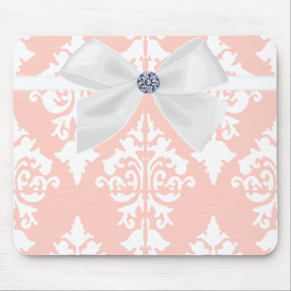 Pink and White Mousepad