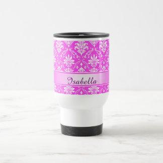 Pink and White Named Damask Travel Mug