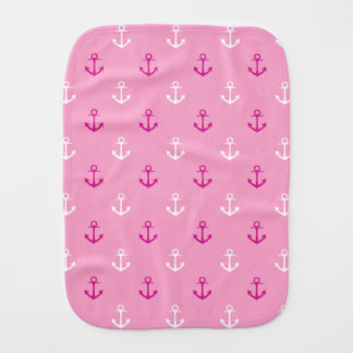 Pink And White Nautical Anchors Pattern Baby Burp Cloth