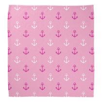 Pink And White Nautical Anchors Pattern Bandana