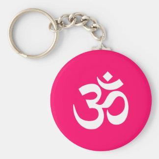 Pink and White Om Symbol Basic Round Button Keychain