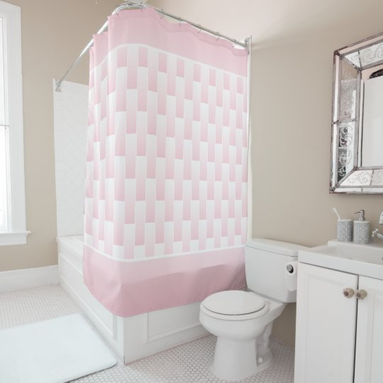 Pink And White Ombre Brick Tile Color Block Shower Curtain