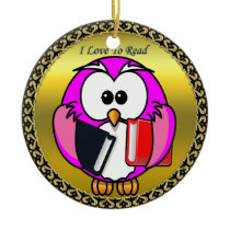 Pink and white owl holding school books gold frame ceramic ornament