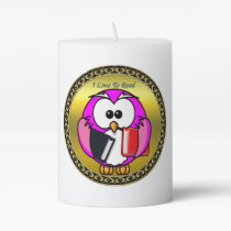 Pink and white owl holding school books gold frame pillar candle