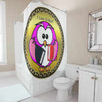 Pink and white owl holding school books gold frame shower curtain