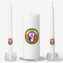 Pink and white owl holding school books gold frame unity candle set